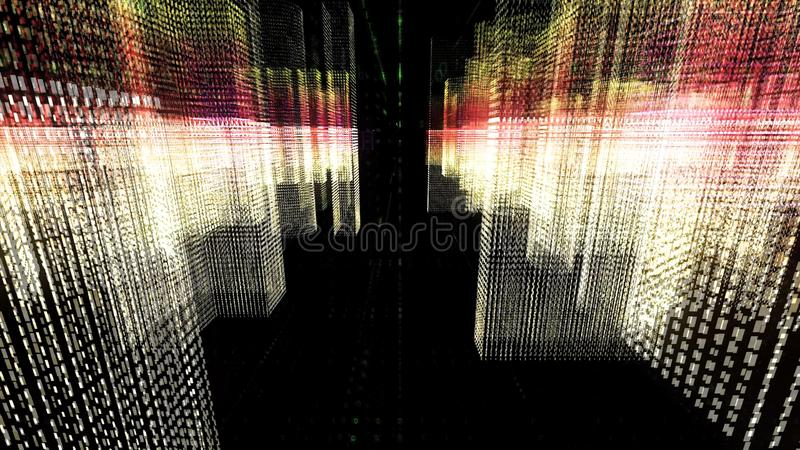 Abstract matrix geometric motion background. Animation. Rain of binary numbers falling down among cubes of symbols on royalty free stock photo
