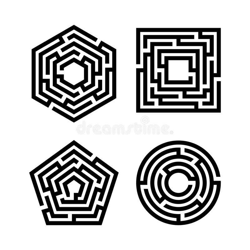 Abstract maze set royalty free illustration