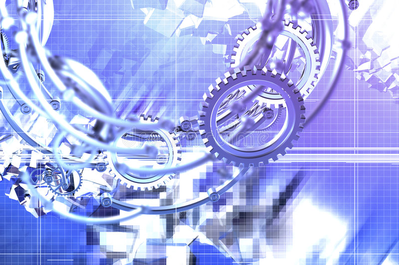 Abstract mechanics. Abstract gears and cubes background stock illustration