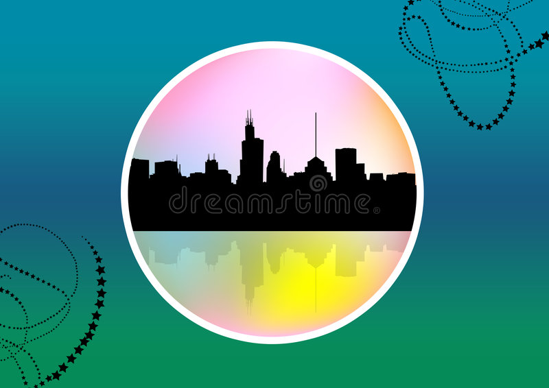 Abstract medallion cityscape. A colorful abstract medallion cityscape royalty free illustration