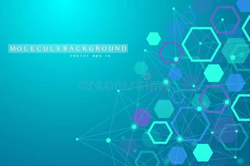 Abstract medical background DNA research hexagonal structure molecule and communication background for medicine, science vector illustration