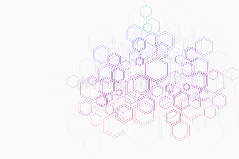 Abstract medical background DNA research, molecule, genetics, genome, DNA chain. Genetic analysis art concept with. Hexagons, lines, dots. Biotechnology network vector illustration