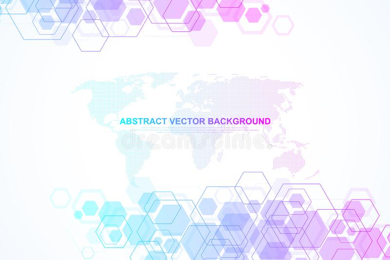 Abstract medical background DNA research, molecule, genetics, genome, DNA chain. Genetic analysis art concept with. Hexagons, lines, dots. Biotechnology network royalty free illustration