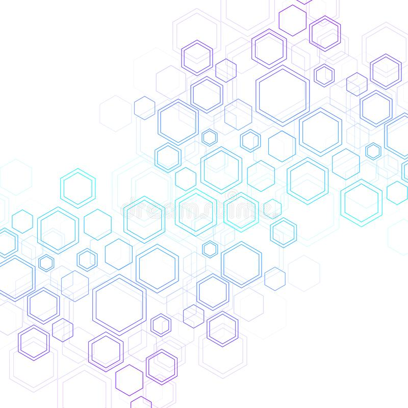 Abstract medical background DNA research, molecule, genetics, genome, DNA chain. Genetic analysis art concept with. Hexagons, lines, dots. Biotechnology network stock illustration