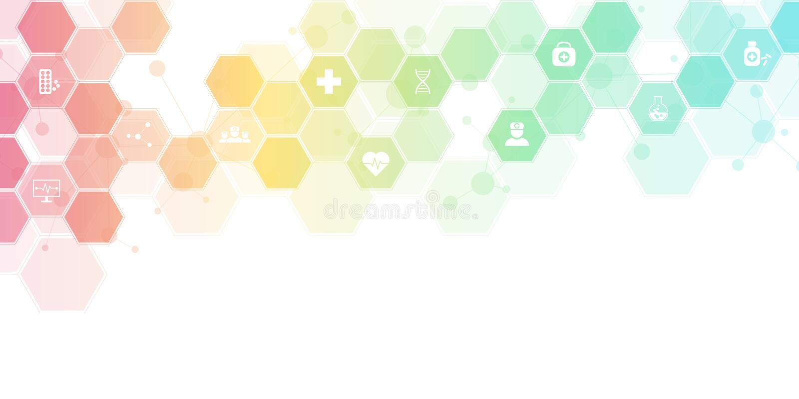 Abstract medical background with flat icons and symbols. Concepts and ideas for healthcare technology, innovation. Medicine, health, science and research stock illustration