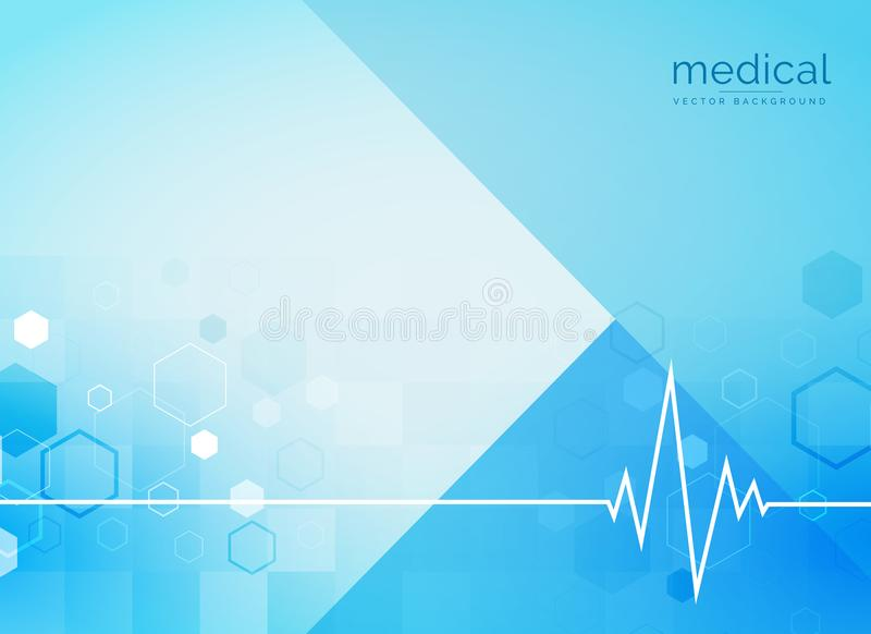 Abstract medical background with heartbeat line stock illustration
