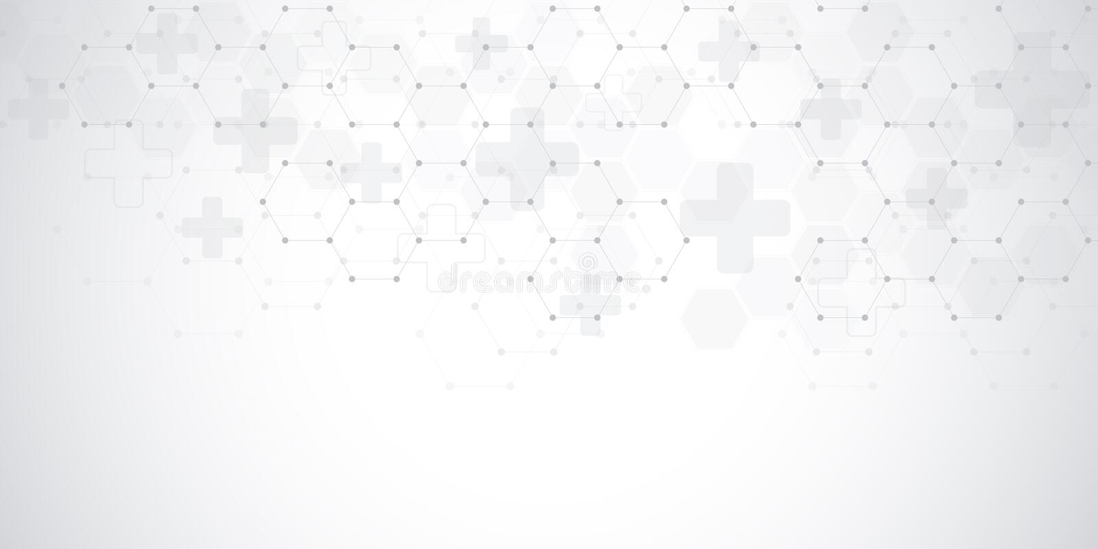 Abstract medical background with hexagons pattern. Concepts and ideas for healthcare technology, innovation medicine royalty free illustration