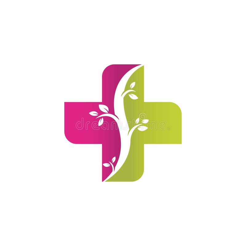 Abstract medical cross herbal alternative medication. Abstract medical cross alternative medicine or herbal healty care logo design illustration stock illustration