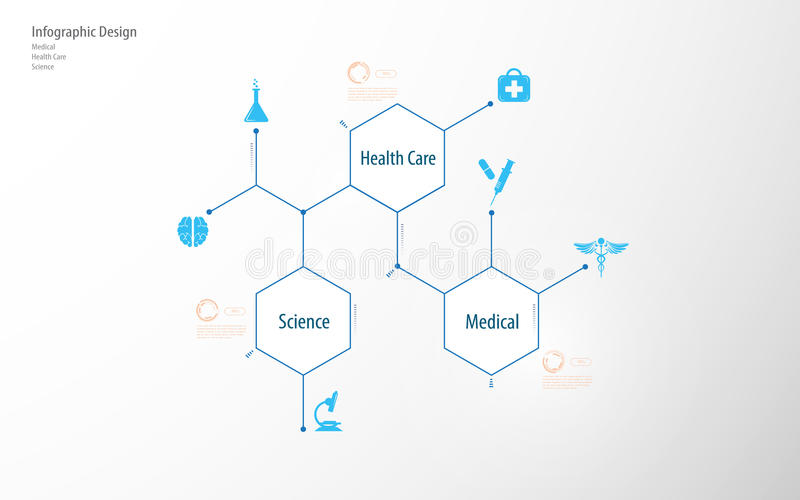Abstract medical health care science infographic template tech communication innovation concept design background vector illustration