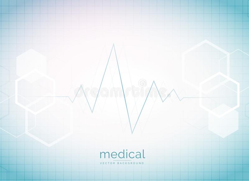 abstract medical and healthcare background with heart beat and h stock illustration