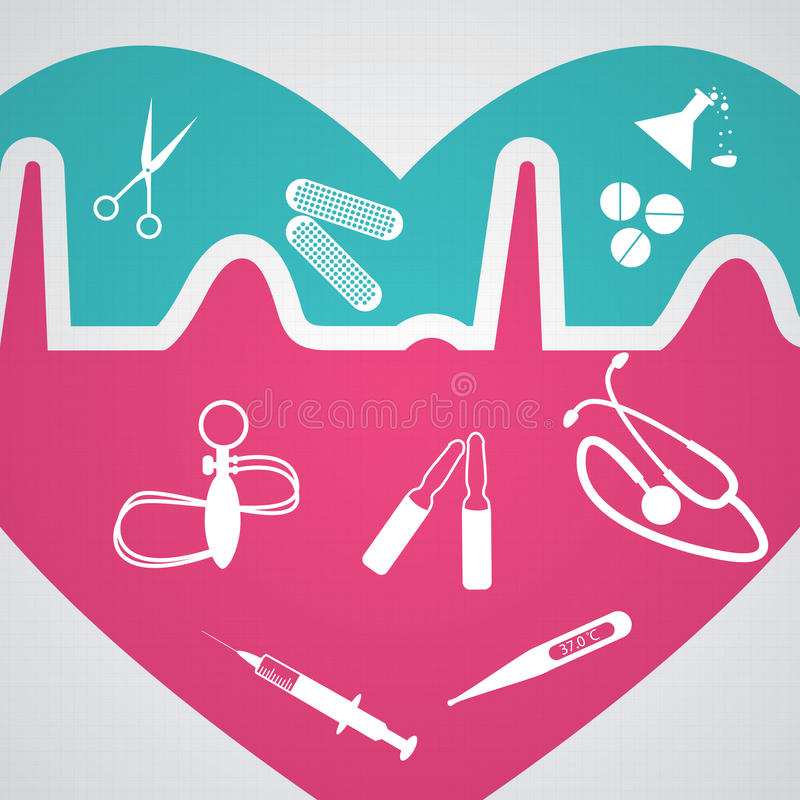 Abstract medical heart heartbeat creative icons stock illustration