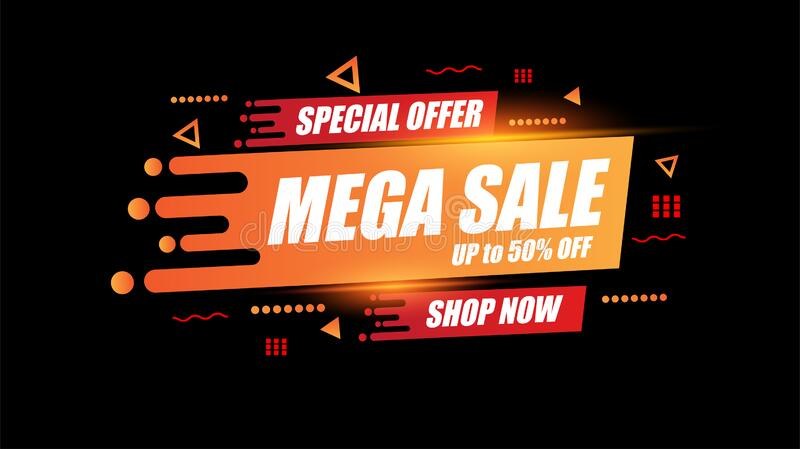 Abstract Mega sale template design for special offers, sales and discounts.Advertising clearance promotion and shopping stock illustration