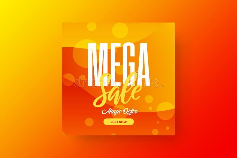 Abstract mega sale vector banner design template. Magic offer discount social media promotion illustration layout. royalty free illustration