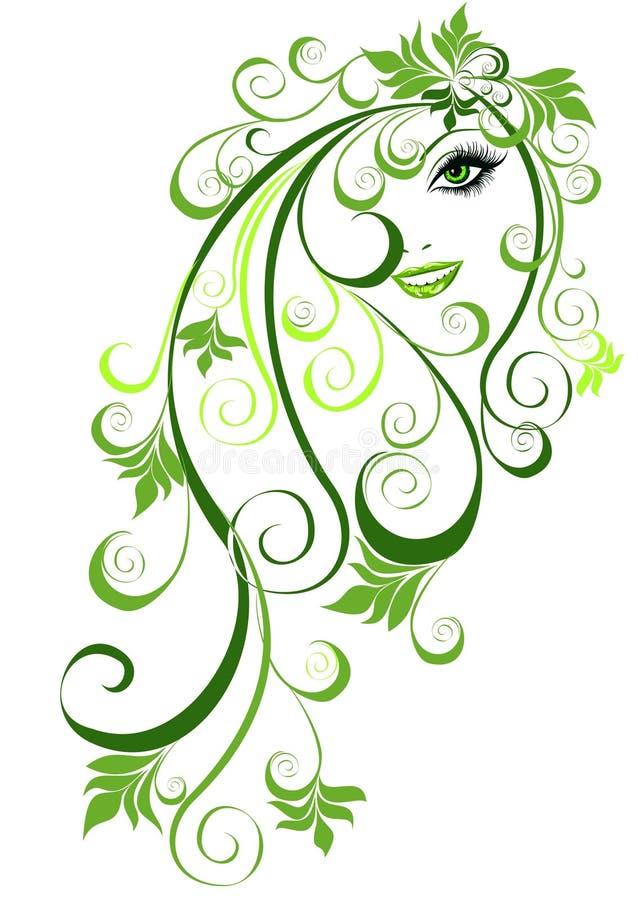 Abstract meisje met bloemenhaar royalty-vrije illustratie
