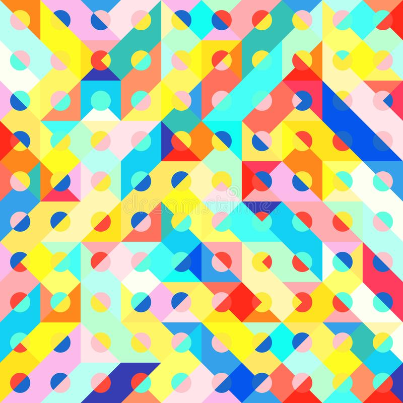 Fun Fashion Geometric Pop Art 1980 Style Pattern. Abstract 1980 Memphis Geometric Pop Art Pattern, Fashion Urban Backdrop for Textile, Wrapping Paper, Trendy royalty free illustration