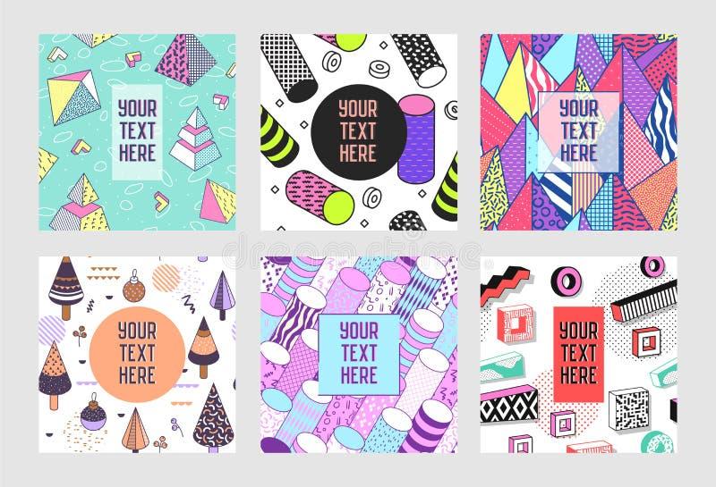 In Abstract Memphis Poster Templates Set met Plaats voor uw Tekst 80-90 van Hipster Geometrische Banners Uitstekende Stijl Als ac vector illustratie