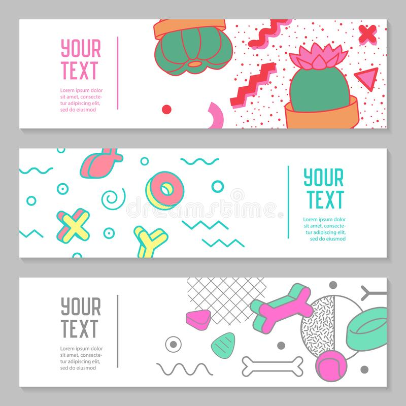 Abstract Memphis Style Horizontal Banners with Geometric Elements. Creative Hipster Modern Composition for Poster, Advertising royalty free illustration