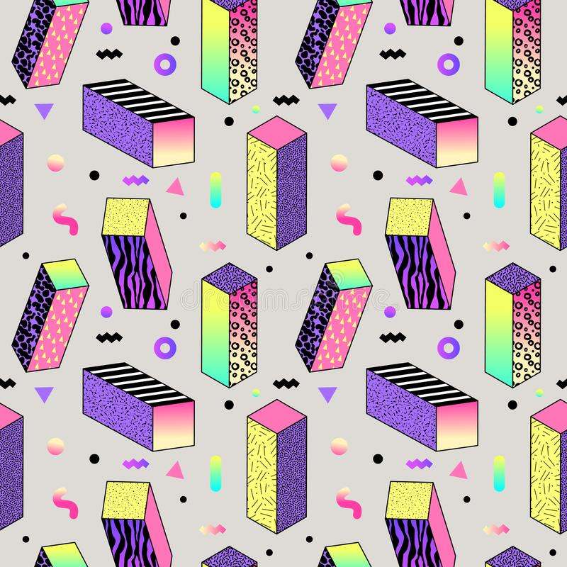 Abstract Memphis Style Seamless Pattern with Geometric Shapes and Cubes. vector illustration