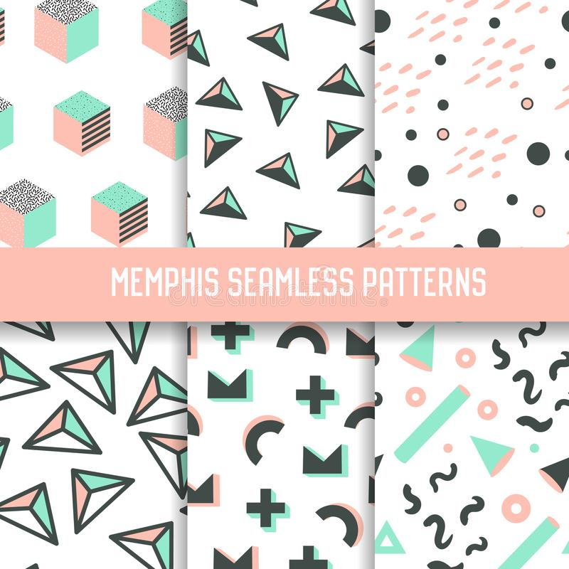Abstract Memphis Style Seamless Pattern Set Hipsterachtergronden met Geometrische Elementen stock illustratie
