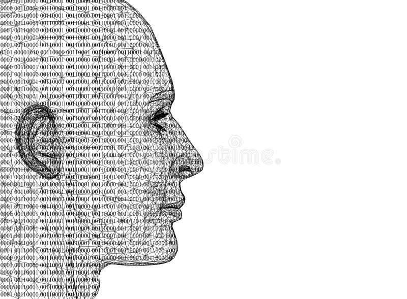 Abstract Menselijk Hoofd met binaire geïsoleerde code - royalty-vrije illustratie