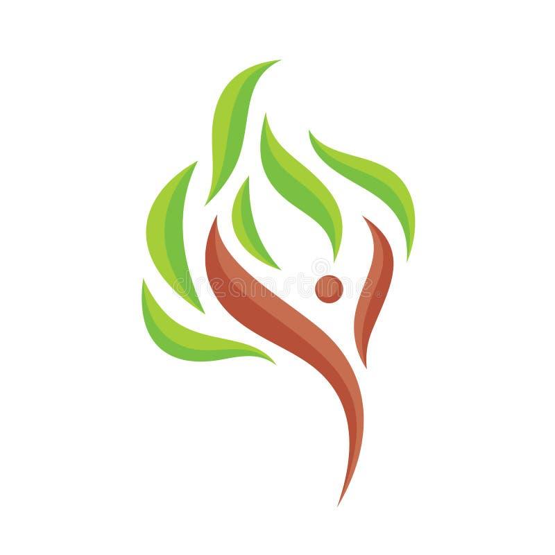 Abstract menselijk karakter met groene bladeren - de vectorillustratie van het embleemmalplaatje Het teken van de boomabstractie  royalty-vrije illustratie