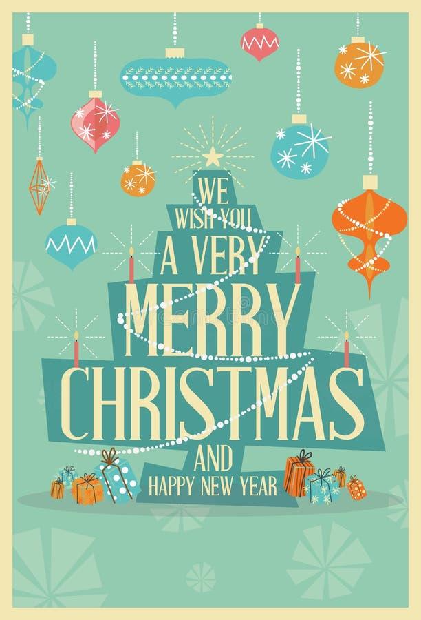 Abstract Merry Christmas Greeting Card Mid Century Mod Christmas vector illustration