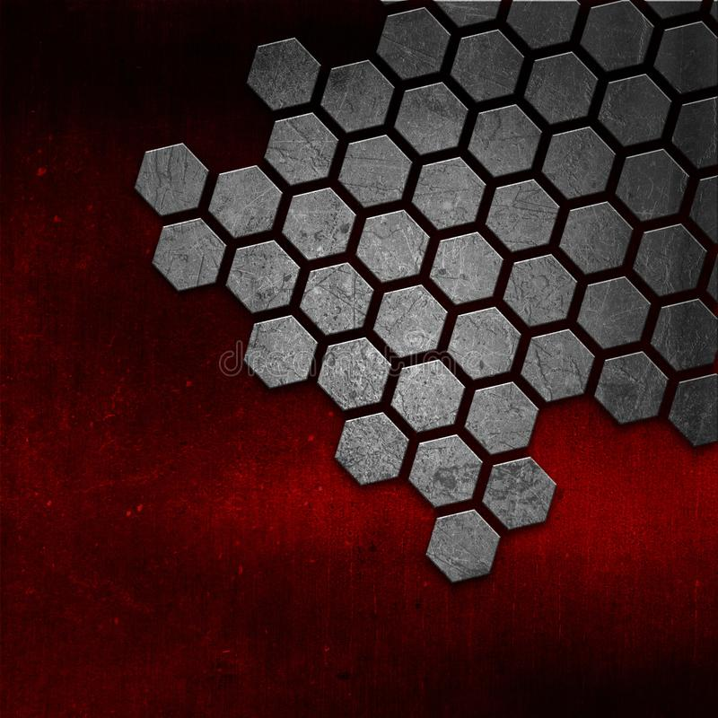Abstract metal texture on red grunge background stock illustration
