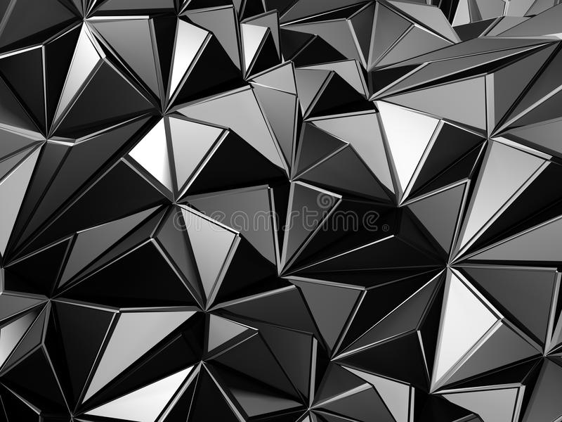 Abstract metal triangle structure background. 3d render illustration stock photography