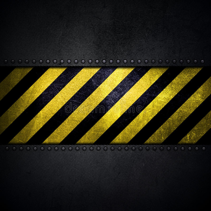 Abstract metallic background with yellow and black warning strip stock illustration
