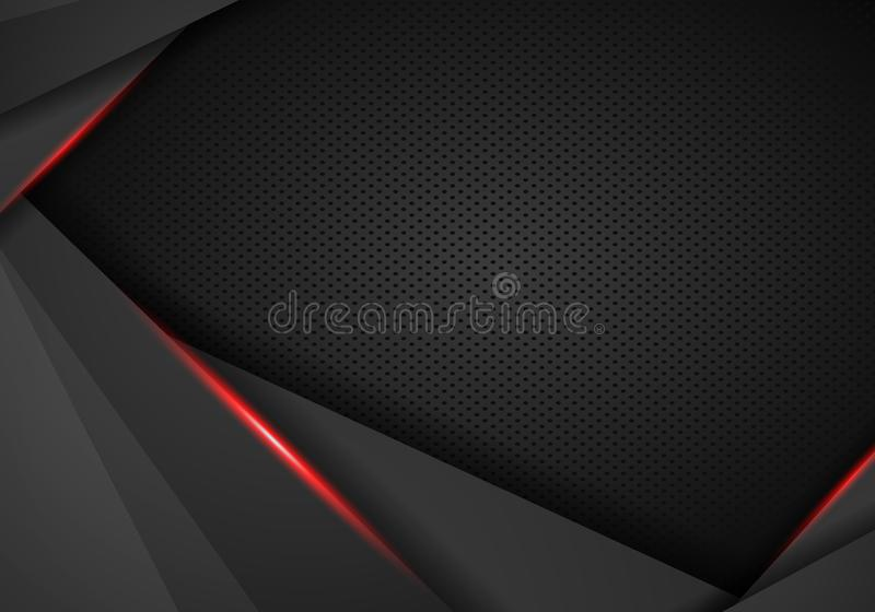 Abstract metallic black red frame on carbon kevlar texture pattern tech sports innovation concept background - Vector stock illustration