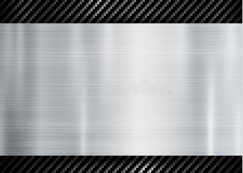 Abstract metallic frame on carbon kevlar texture pattern tech sports innovation concept background stock illustration