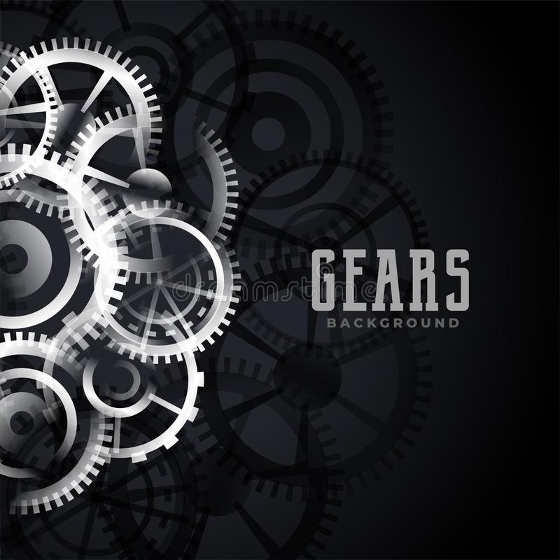 Abstract metallic gears background design stock illustration