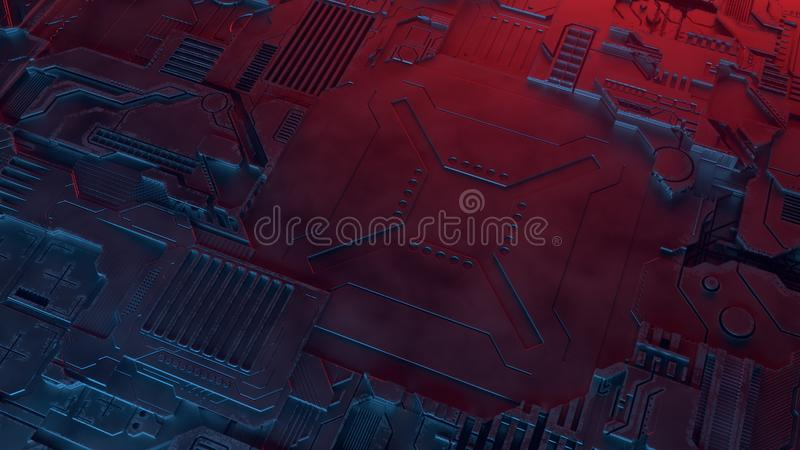 Abstract metallic pattern. Futuristic techno background illuminated by colored lights. Digital 3d illustration. Hi-tech futuristic techno background. Abstract royalty free illustration