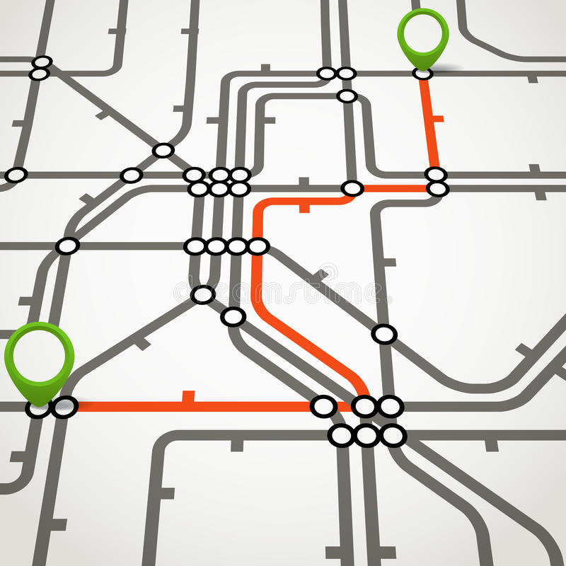 Abstract metro scheme. With the selected path royalty free illustration