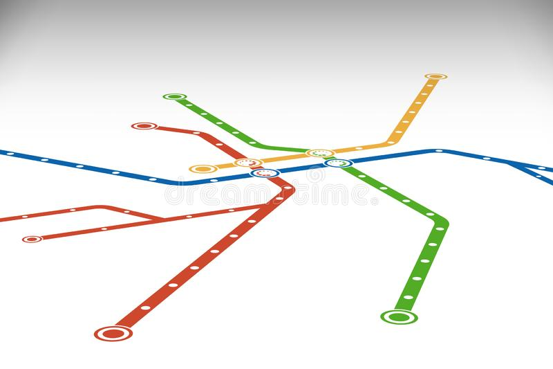 Abstract metro or subway map design template. Rrperspective view. City transportation scheme concept. Rapid transit vector illustration vector illustration