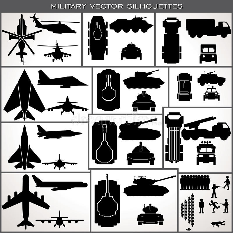 Abstract Military Silhouettes. Vector Collection stock illustration