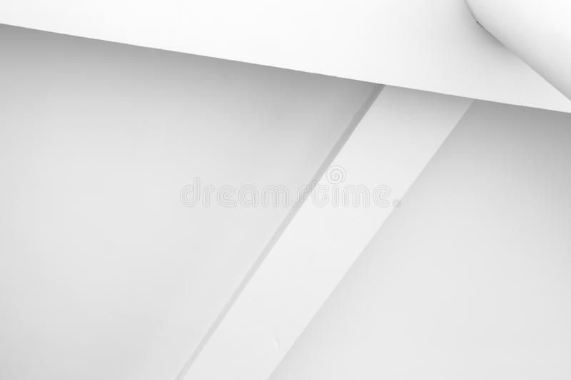 Abstract minimal architecture. Background, white ceiling structure with beams stock image