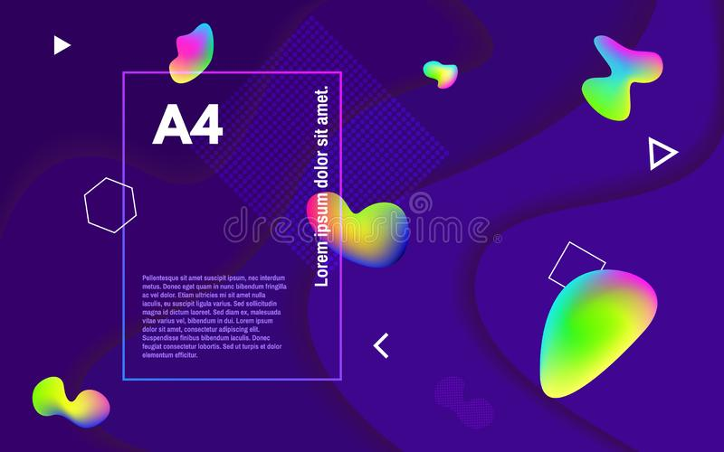 Abstract minimal background. Colorful fluid shapes. Colored bubbles on dark backdrop. Geometric elements and multi royalty free illustration