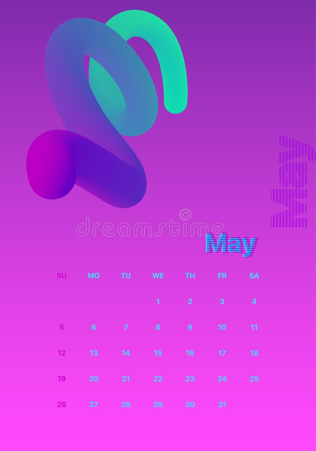 Abstract minimal calendar design for 2019. Colorful set. May royalty free illustration