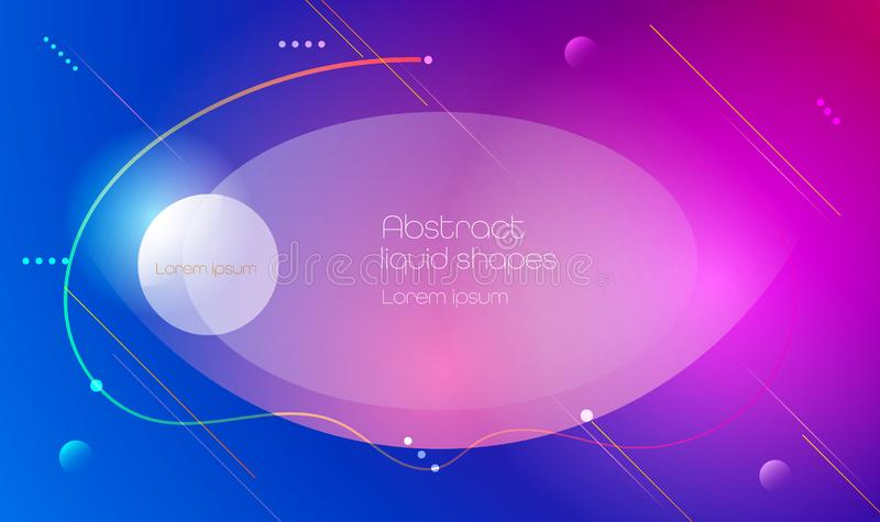 Abstract minimal gradient shapes and geometric pattern composition. Colorful gradient background. Vector abstract modern graphic royalty free illustration