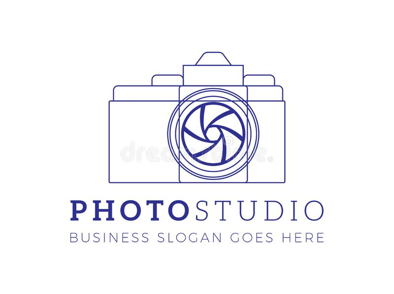 Abstract Minimal Photographer Logo with Camera for Photo Studio. Vector stock illustration