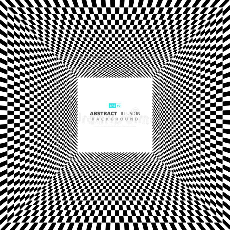 Abstract minimal square black and white illusion background with space of text. illustration vector eps10 stock illustration