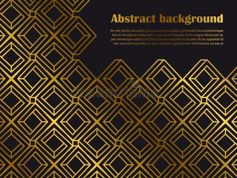 Abstract minimal style background with golden geometric shapes royalty free illustration