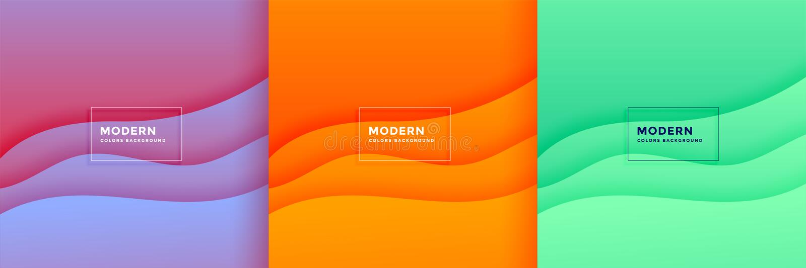 Abstract minimal wave papercut background set design stock illustration