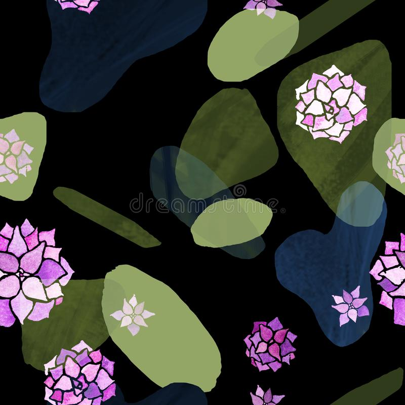 Abstract minimalist seamless pattern. Green and blue stains with pastel pink watercolor echeveria plants on black royalty free illustration