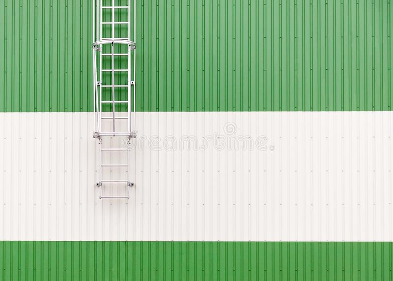 Abstract minimalist industrial warehouse wall with metal ladder stock image