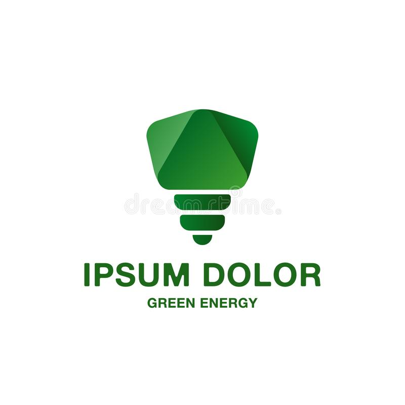 Abstract and minimalistic green light bulb icon. Pure green energy logo idea for branding and corporate identity. stock illustration
