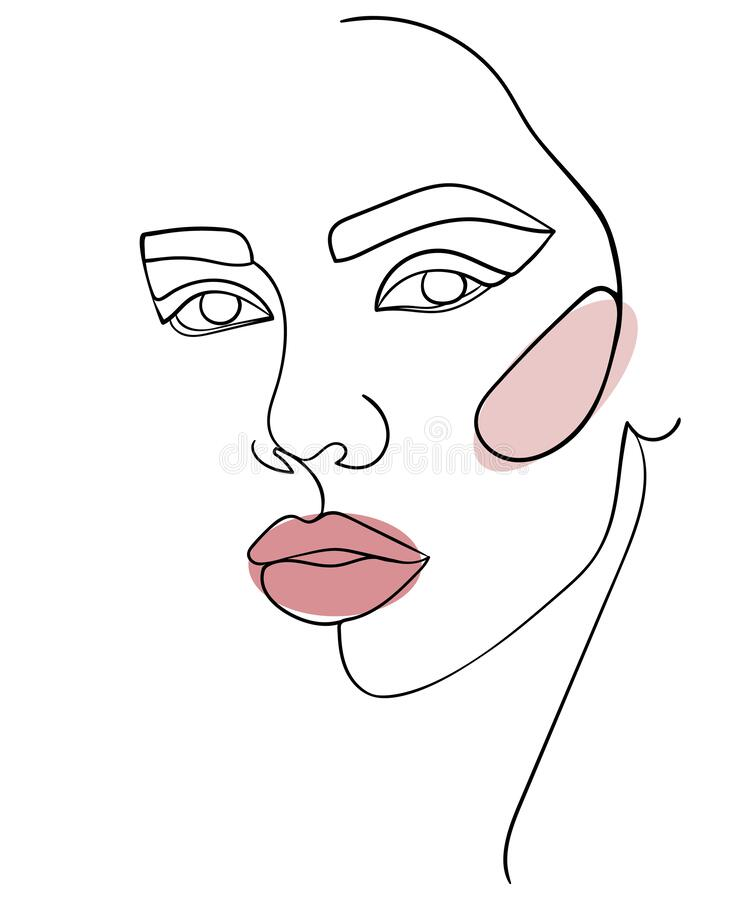 Free Abstract Minimalistic Linear Sketch. Woman`s Face. Stock Photography - 182746642