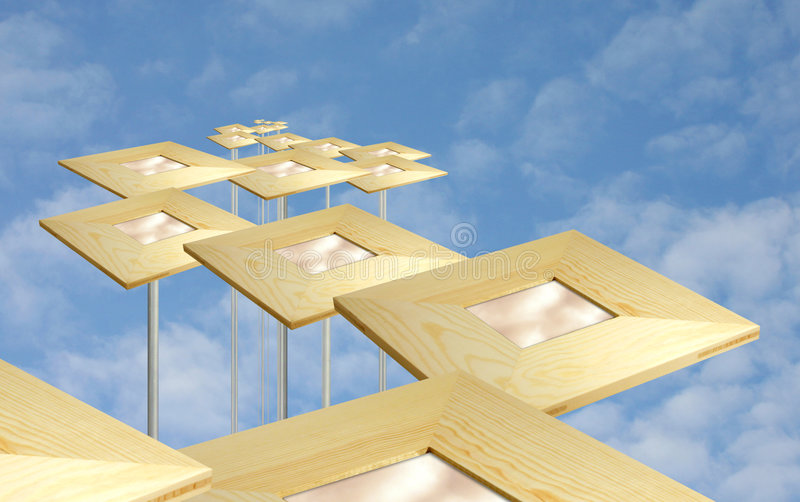 Download Abstract mirrors in sky stock illustration. Image of tops - 81397