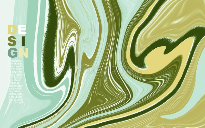 Abstract mixed green and yellow waves and swirls texture. Abstract mixed green and yellow surface paints waves and swirls texture. Trendy background for design vector illustration